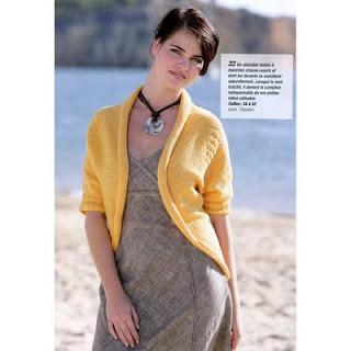 Bat Sleeves Yellow Bolero Shrug Knitting Pattern PDF