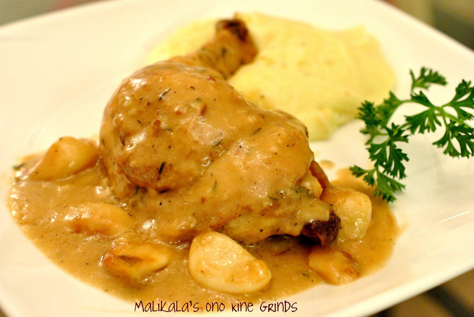 Malikala's Ono Kine Grinds: 40 Clove Garlic Chicken