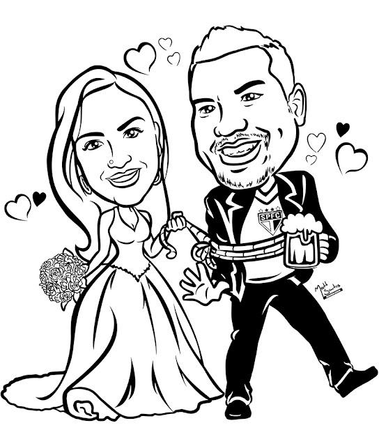 Caricatura de Casamento em Preto para Canecas