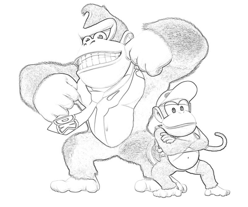 Donkey kong country returns donkey kong peace mario for Diddy kong coloring pages