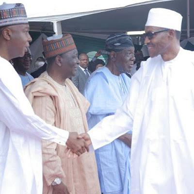 Buhari,Saraki and Yakubu Gowon at Nigeria 55th independence day celebrations