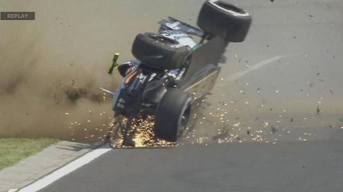 El accidente asustó a Sergio Pérez