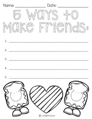 math worksheet : thehappyteacher teaching friendship with peanut butter  cupcake : Friendship Worksheets For Kindergarten
