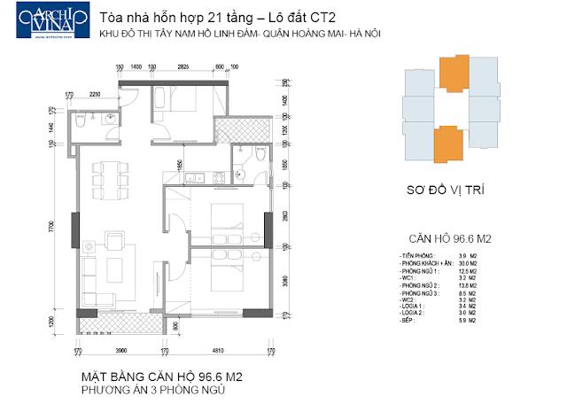 Căn diện tích 96.6 m2 3 phòng ngủ chung cư b1b2ct, b2ct2 tây nam linh đàm