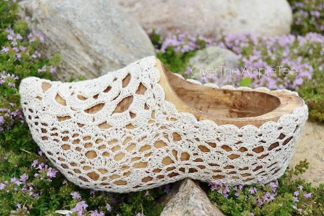 Crochet Covered Wooden Shoe, Dutch Shoe - Over The Apple Tree