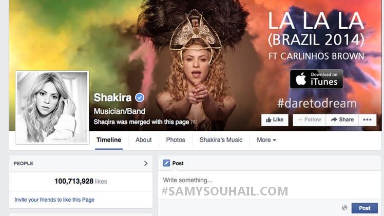 """المغنية الكولومبية الشهيرة """"شاكيرا"""" أول من استقطب 100 مليون معجب في الفيسبوك"""