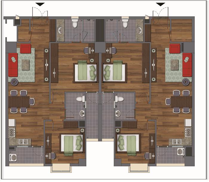 Chi tiết căn hộ D chung cư Green House