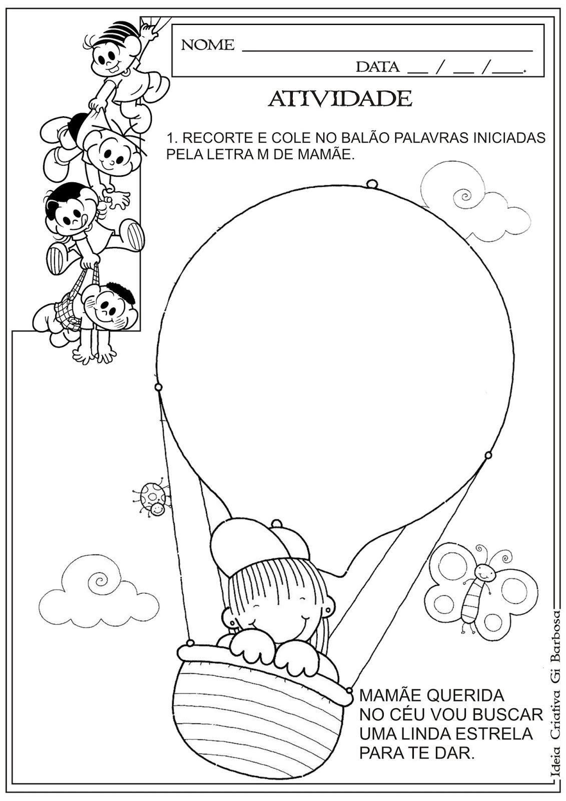 Suficiente Atividade Dia das Mães - Recorte e Colagem Letra Inicial | Ideia  OA92