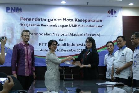 Nota kesepahaman PNM dengan Carrefour Buka Akses Pasar UMK Indonesia