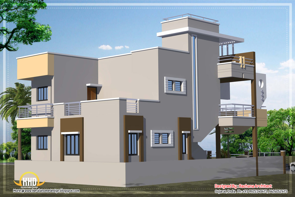 Contemporary india house plan 2185 sq ft indian home for Building plans for homes in india