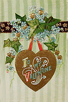 antique gold embossed valentine postcard post card with heart and flowers