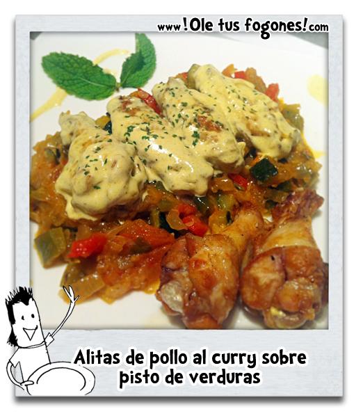 Alitas de pollo al curry con pisto de verduras