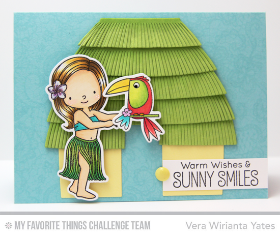 Sunny Smiles Card by Vera Wirianta Yates featuring the Birdie Brown Polynesian Paradise stamp set and Die-namics and the Tiki Hut Die-namics #mftstamps