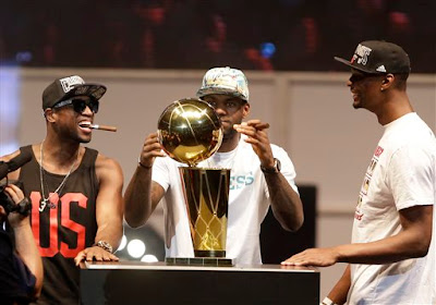 Wade LeBron Bosh back to back titles, Big 3 celebration
