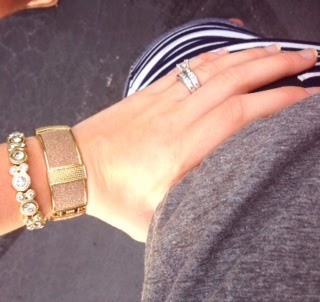 Gold Arm Jewelery, Navy and White striped skirt