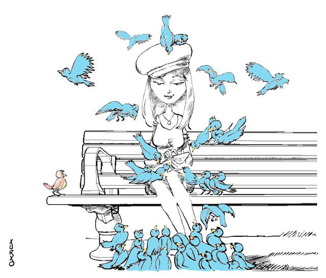 viñeta joven mujer twitter en el parque