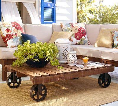 mesa de centro rústica, mesa de centro de pallets