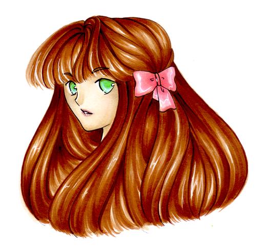 Fille aux yeux verts avec de longs cheveux bruns