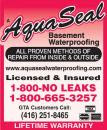Aquaseal Basement Foundation Concrete Crack Repair Specialists Toronto 1-800-NO-LEAKS