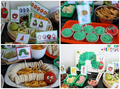 Hungry caterpillar food and snacks