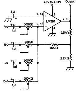 battery equalizer wiring diagram with 4 Channel Audio Mixer Using Lm381 on Guitar Or Bass Midrange Control likewise Dual Stereo Wiring Diagram besides Stereo Equalizer Hook Up Diagram likewise 4w Bridge  lifier Using Lm388 further LED Battery Condition Indicator CIRCUIT  LM339  1480.