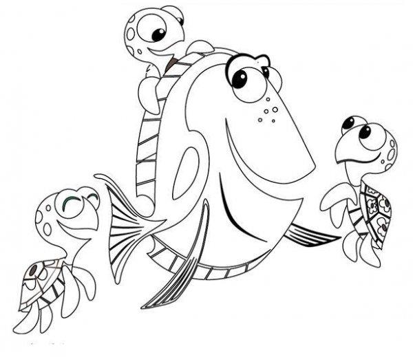 COLOREA TUS DIBUJOS: Dibujo de Doris y tortugas para colorear