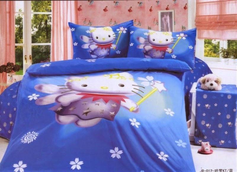Desain kamar tidur motif hello kitty untuk anak perempuan