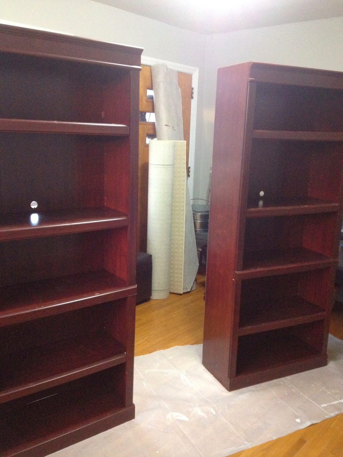 Marvelous photograph of Blissfully Chic DIY: Painting Laminate Bookshelves Dark to Bright! with #9D6B2E color and 1200x1600 pixels