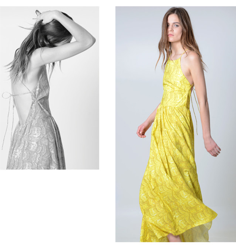 Club Monaco yellow maxi dress