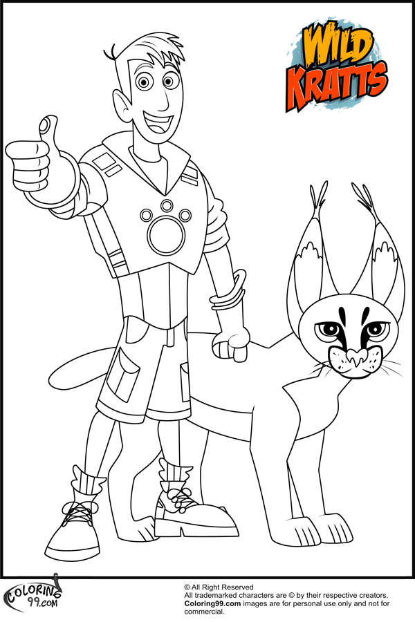 coloring book martin with wild kratts coloring pages