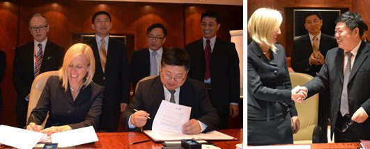 ACT Chief Minister Katy Gallagher signing a MOU with Shanghai Normal University.