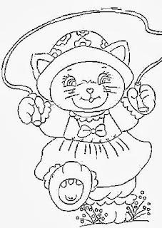 desenho de gata pulando corda para pintar