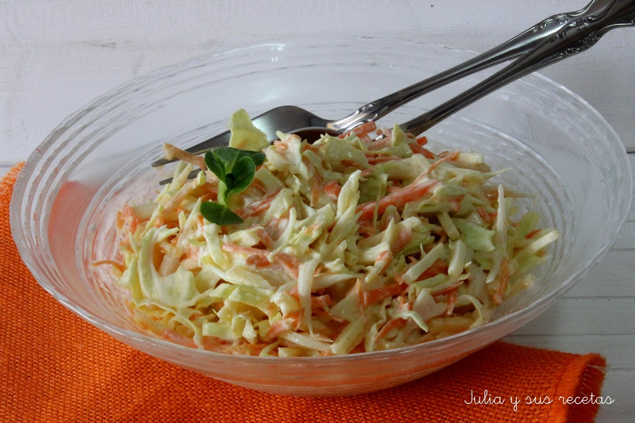 Julia y sus recetas ensalada coleslaw for Como preparar repollo