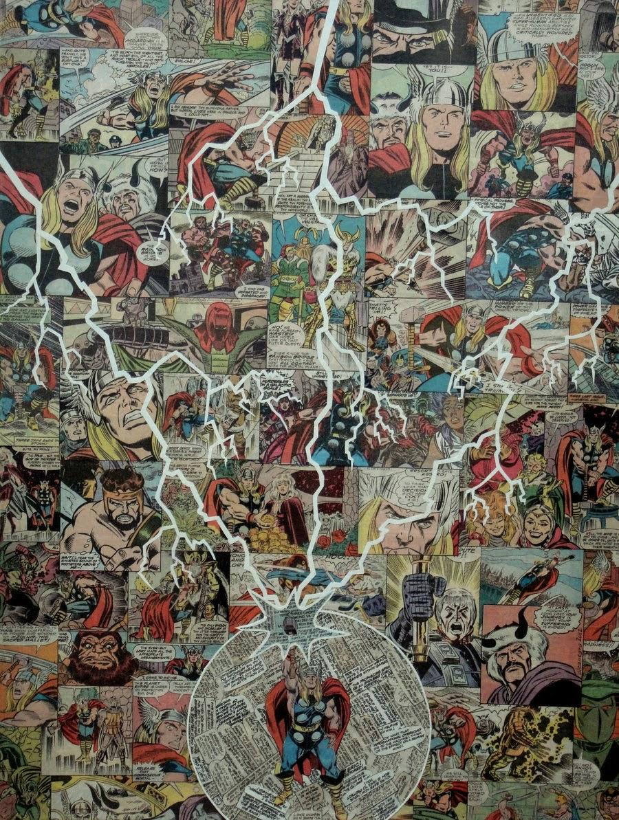 19-Thor-Mike-Alcantara-Comic-Collage-Art-www-designstack-co
