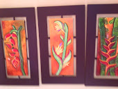 heliconias talladas en madera, medidas 70cm por 30cm