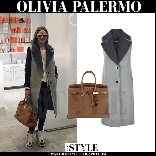 Olivia Palermo in grey sleeveless gestuz coat with brown Hermes birkin tote what she wore winter streetstyle