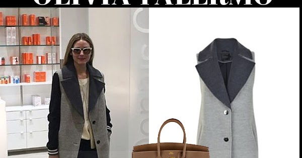 Olivia palermo in grey sleeveless coat with brown birkin for Hermes palermo