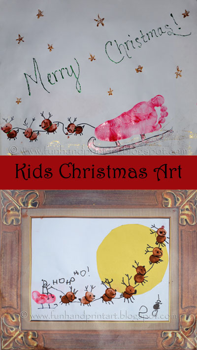 Kids thumbprint & footprint sleigh craft, Christmas Craft