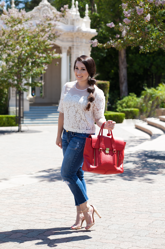 pretty summer outfit ideas, balboa park, lace top, cropped denim, phillip lim pashli, king and kind blog