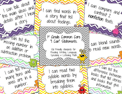 Mr First Grade Common Core I Can Statements