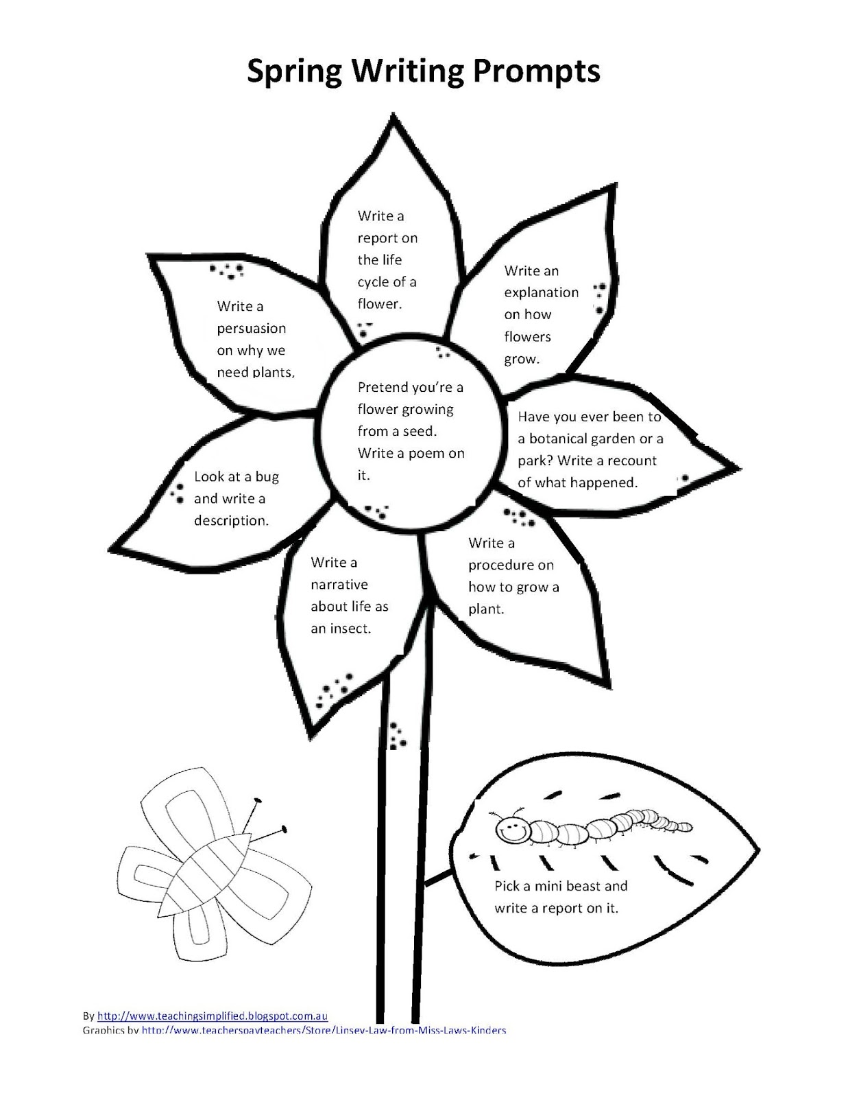 spring and fall writing prompts download sheets