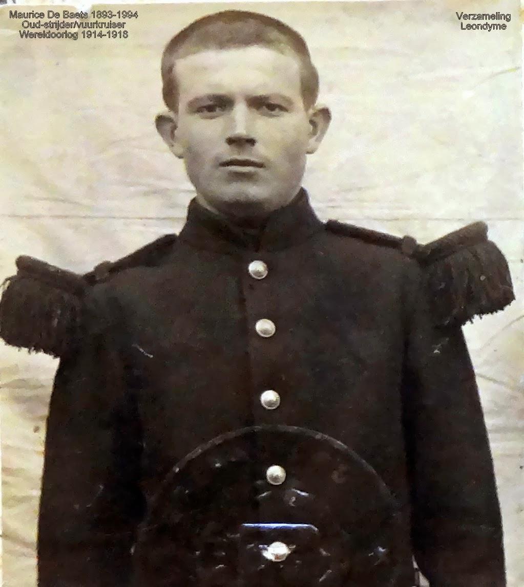 Oud-strijder/vuurkruiser Maurice De Baets 1893-1994. Legerarchief Evere.