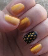 Vacanze finitemanicure golden pois + foto mare (mani black gold pois)