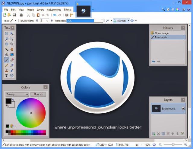 صورة من برنامج بينت دوت نت Paint.NET الرسام
