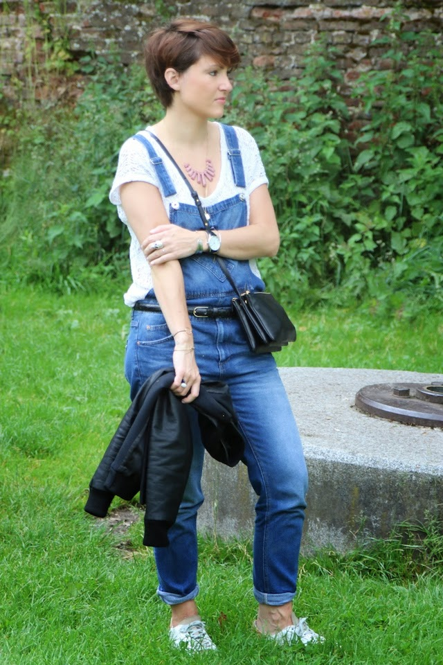salopette, jean, denim, pull and bear, zara, teddy, celine, golden goose, celine, trio bag, juste juliette, blog mode lille, fashion blogger