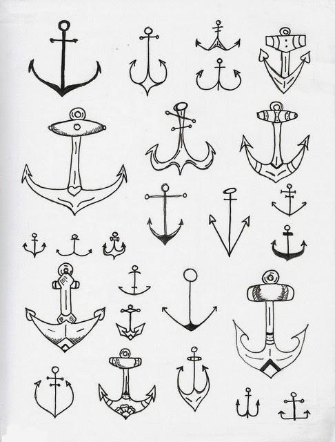 Anchors various tattoo stencil