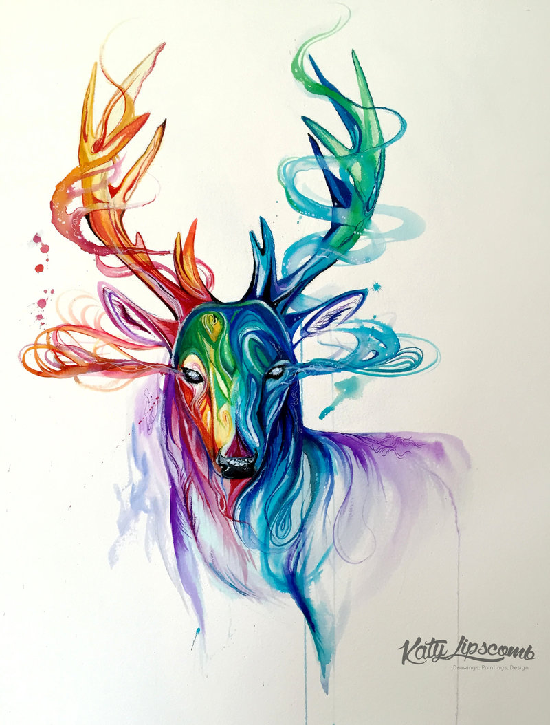 22-Stag-Katy-Lipscomb-Lucky978-Fantasy-Watercolor-Paintings-Colored-Pencils-Drawings-www-designstack-co