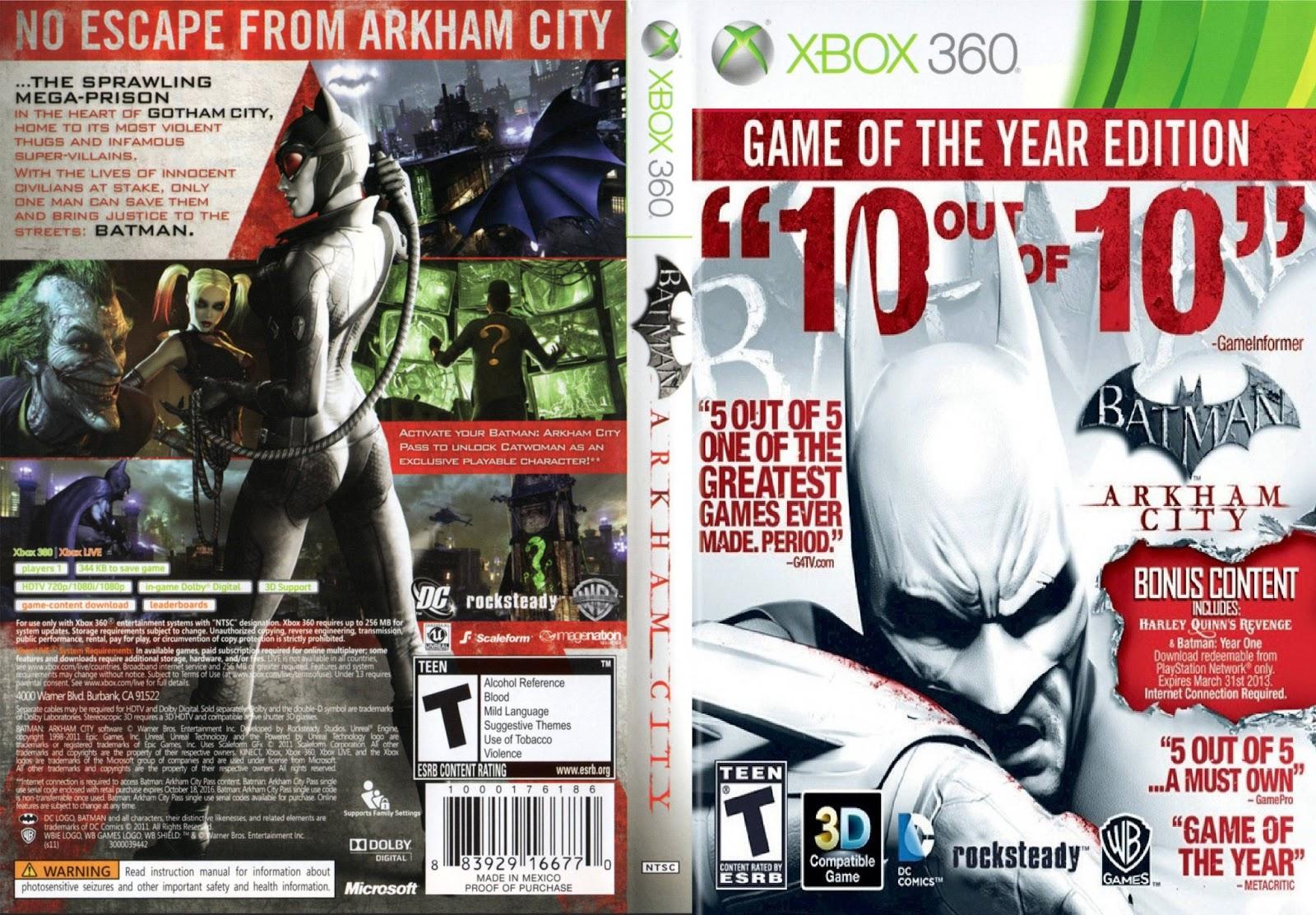 Capa Batman Arkham City Game Of The Year Edition Xbox 360
