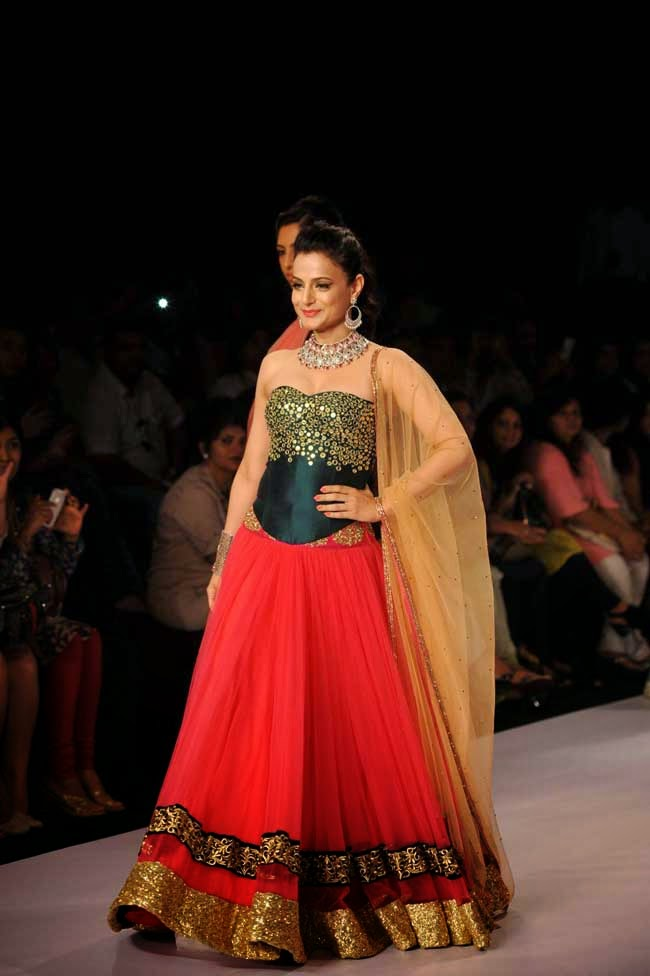 Ameesha Patel In Red and Green Lehenga