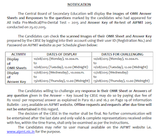 AIPMT Answer key OMR Sheet release dates / schedule